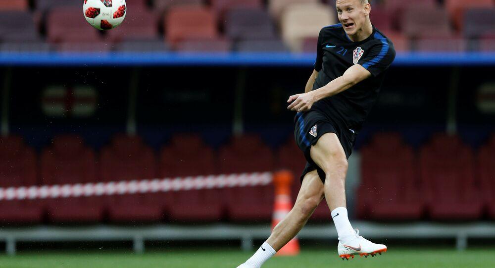 World Cup - Croatia Training Soccer Football - World Cup - Croatia Training - Luzhniki Stadium, Moscow, Russia - July 10, 2018 Croatia's Domagoj Vida during training