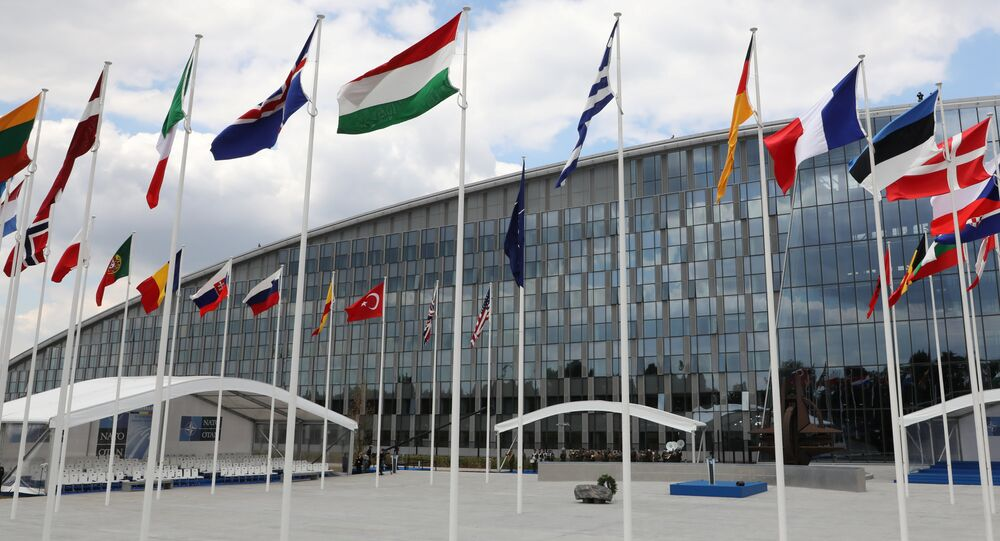 A general view of the NATO official tribune ahead of the opening ceremony of the NATO (North Atlantic Treaty Organization) summit, at the NATO headquarters in Brussels, Belgium, July 11, 2018