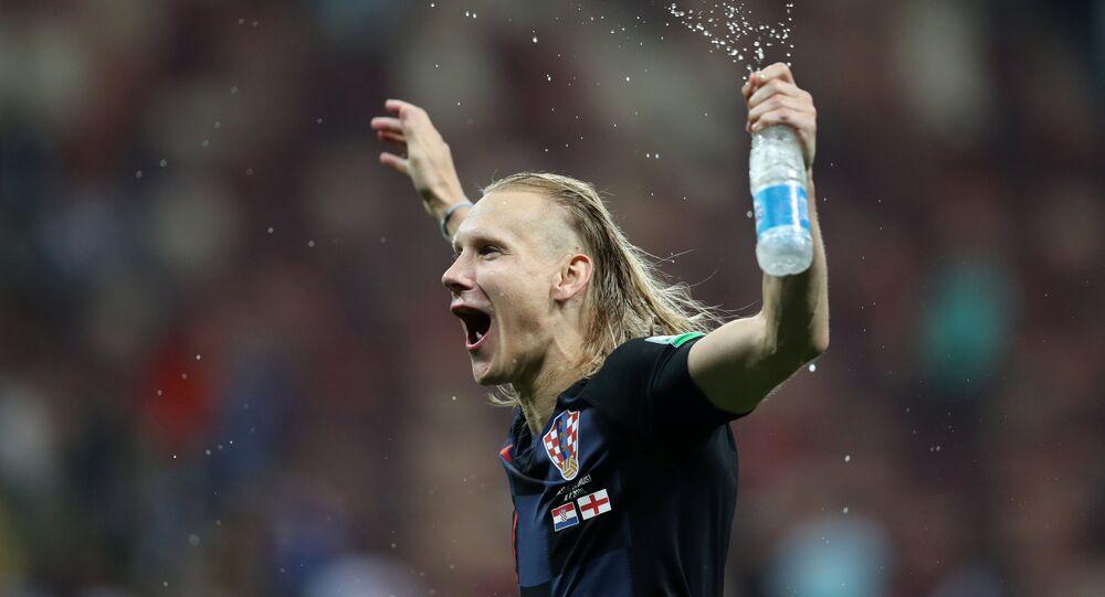 Soccer Football - World Cup - Semi Final - Croatia v England - Luzhniki Stadium, Moscow, Russia - July 11, 2018 Croatia's Domagoj Vida celebrates after the match