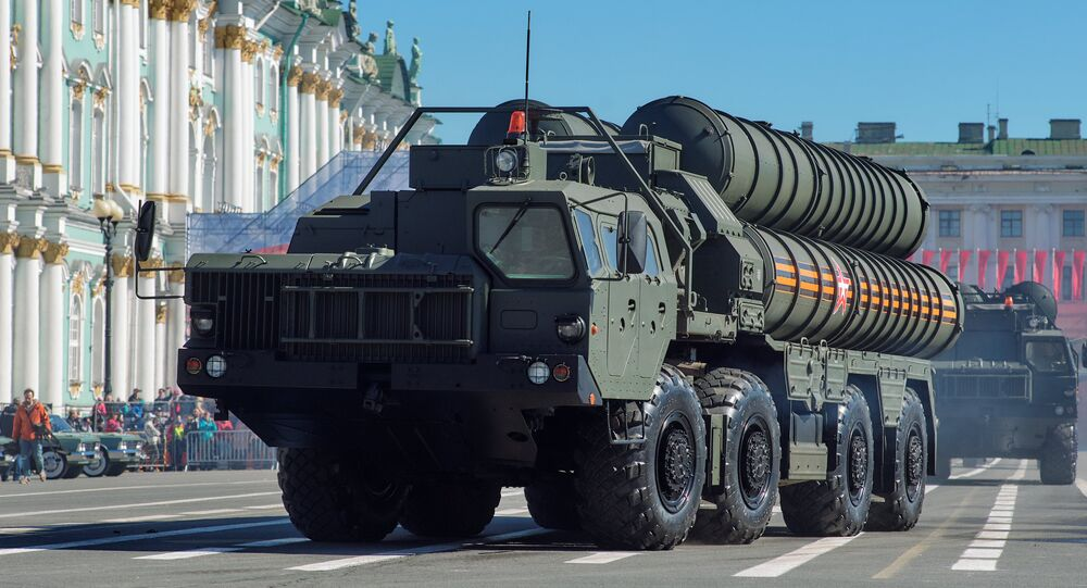 Transporters-launchers for S-400 Triumf missile systems at the final rehearsal of the military parade on St. Petersburg's Palace Square, which is timed to the 73rd anniversary of Victory in the Great Patriotic War
