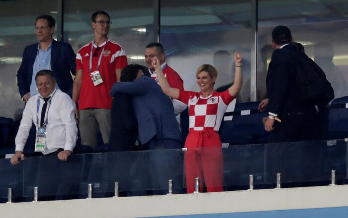 Soccer Football - World Cup - Quarter Final - Russia vs Croatia - Fisht Stadium, Sochi, Russia - July 7, 2018 Croatia president Kolinda Grabar-Kitarovic celebrates in the stand after winning the penalty shootout