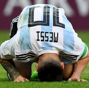 Lionel Messi (Argentina) in a match 1/8 finals of the FIFA World Cup between French and Argentina national teams