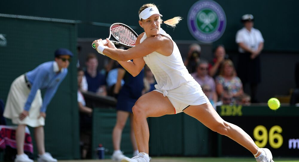 Tennis - Wimbledon - All England Lawn Tennis and Croquet Club, London, Britain - July 14, 2018. Germany's Angelique Kerber in action during the women's singles final against Serena Williams of the U.S.