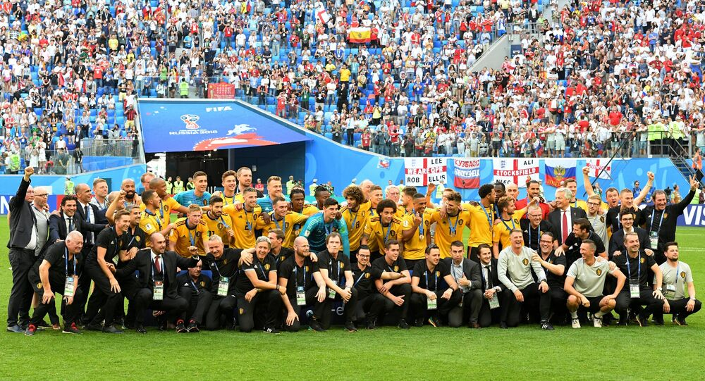 Rewarding of the national team of Belgium with the bronze medals World Cup 2018