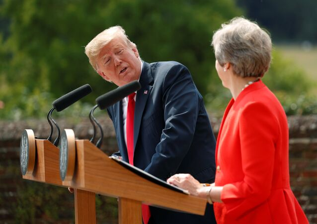 U.S. President Donald Trump and British Prime Minister Theresa May hold a press conference after their meeting at Chequers in Buckinghamshire, Britain July 13, 2018