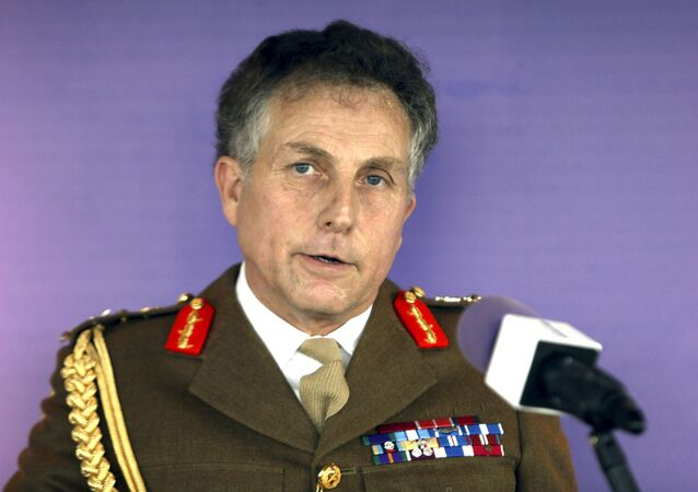 In this Jan. 10, 2017 file photo, British Army chief General Nick Carter makes a speech during the launch of the army's leadership doctrine at the BT Tower in central London