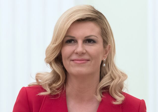 President of Croatia Kolinda Grabar-Kitarovic during a meeting with Russian President Vladimir Putin