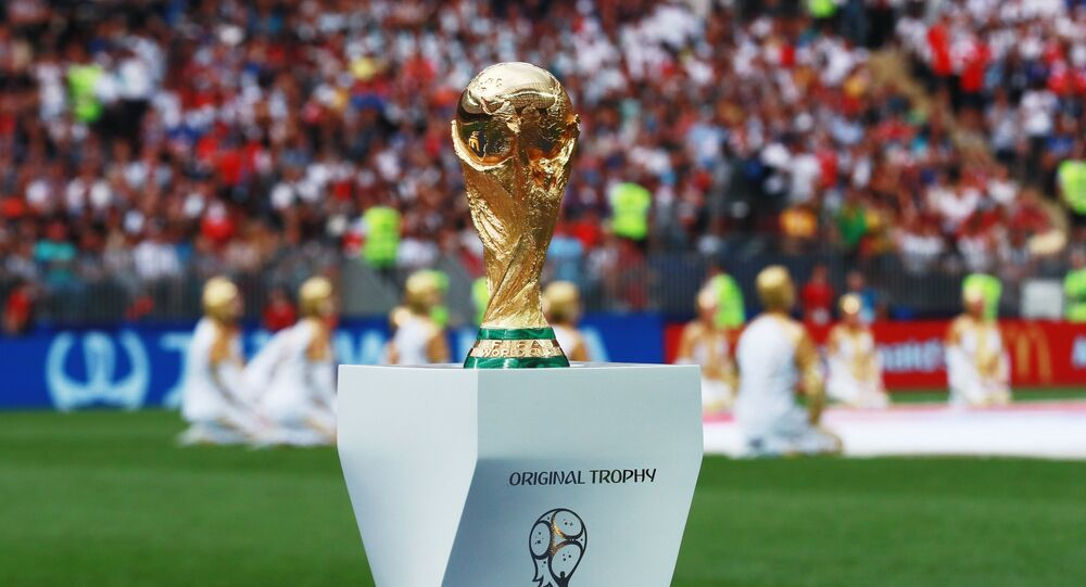 World Cup Trophy before the start of the final match of the FIFA World Cup between the national teams of Croatia and France