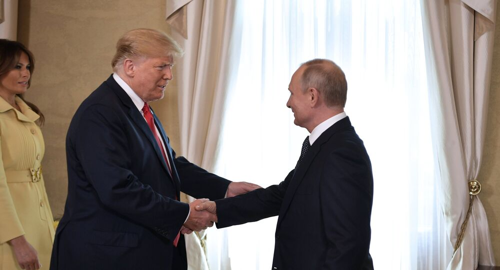 July 16, 2018. Russian President Vladimir Putin and US President Donald Trump during a meeting at the presidential palace in Helsinki.