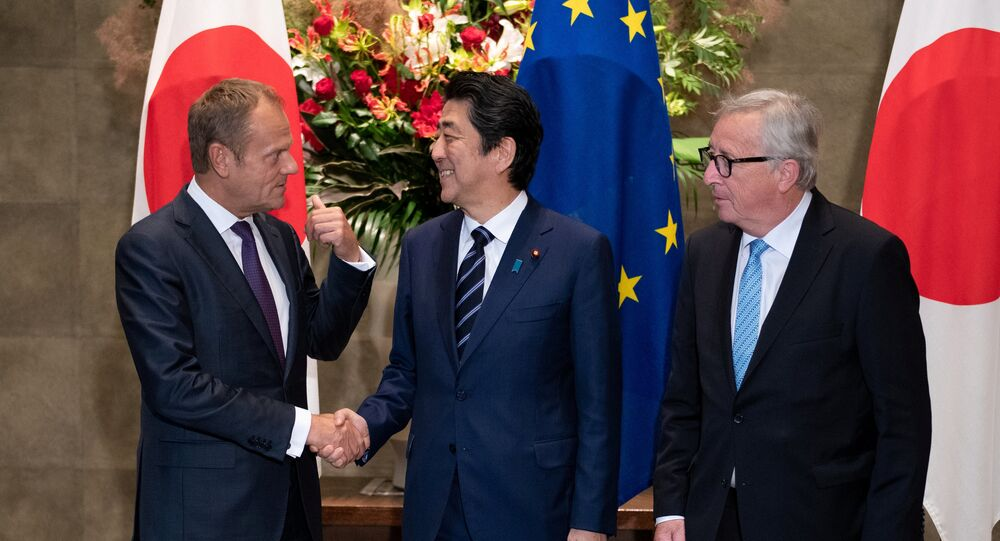 Japanese Prime Minister Shinzo Abe meets with European Commission President Jean-Claude Juncker and European Council President Donald Tusk, July 17, 2018 at the Japanese Prime Minister office in Tokyo