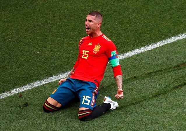 Spain's Sergio Ramos celebrates scoring their first goal, Luzhniki Stadium, Moscow, Russia - July 1, 2018