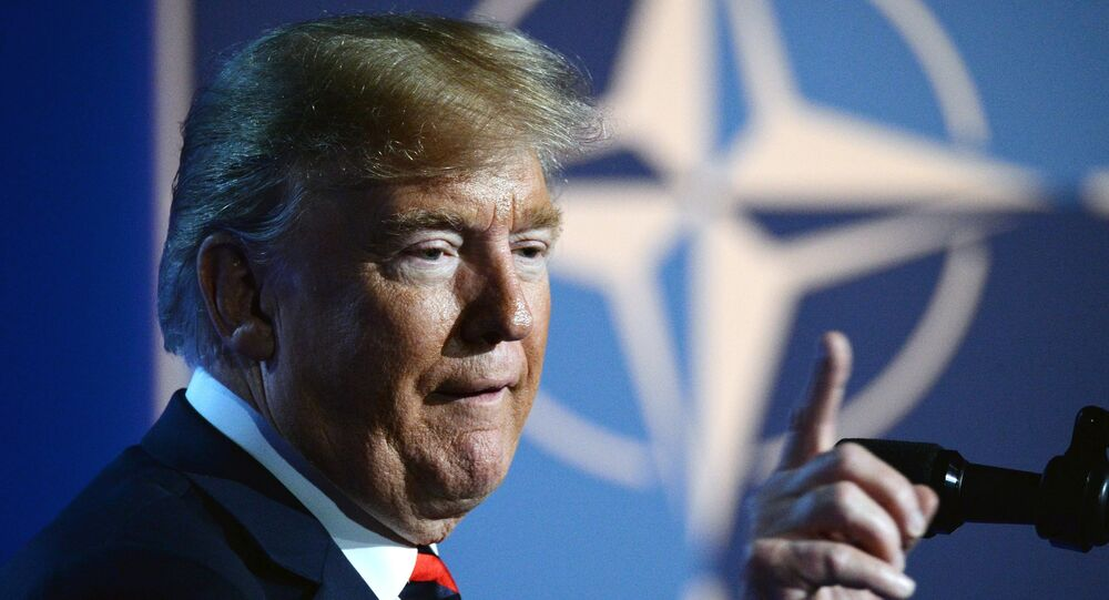 US President Donald Trump at the NATO summit of heads of state and government, Brussels