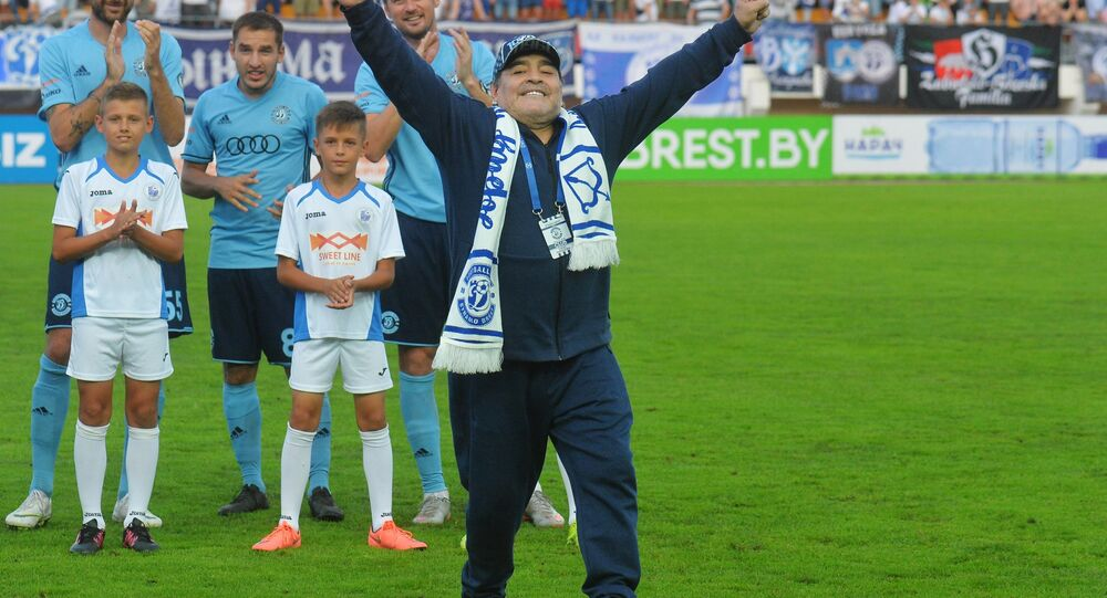 Diego Maradona is seen at the Brestsky Stadium ahead of Dinamo Brest's game against Shakhter Soligorsk