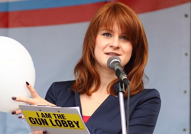 Public figure Maria Butina delivers a speech during a rally to demand the expanding of rights of Russian citizens, in this undated handout photo obtained by Reuters on July 17, 2018