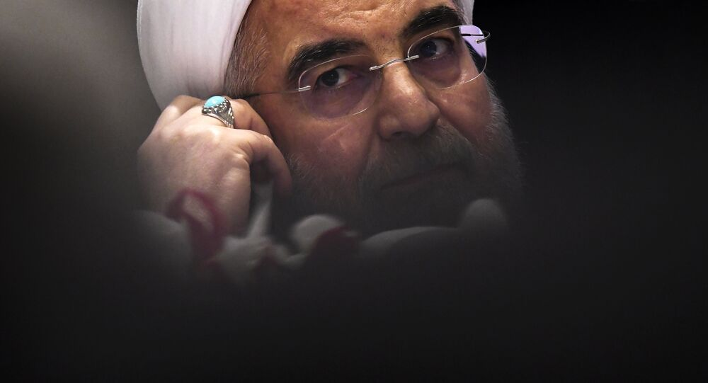 Iran's President Hassan Rouhani listens to a question during a press conference in New York on September 20, 2017, on the sideline of the 72nd Session of the United Nations General assembly
