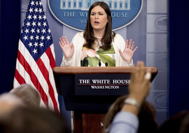 White House deputy press secretary Sarah Huckabee Sanders talks to the media during the daily press briefing at the White House in Washington