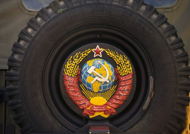 USSR Coat of Arms on an Old Military Vehicle