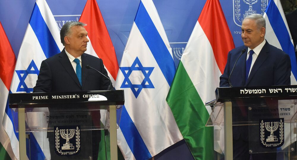 Israeli Prime Minister Benjamin Netanyahu speaks during a joint statment with Hungarian Prime Minister Viktor Orban , at the prime minister's office in Jerusalem, July 19, 2018