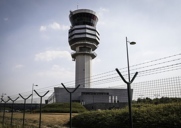 A photo taken on July 19, 2018 shows the air traffic control organization Belgocontrol in Steenokkerzeel, where technical troubles led to the closure of the Belgian airspace