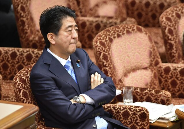 Japan's Prime Minister Shinzo Abe attends an upper house special committee session at the parliament in Tokyo on July 28, 2015.