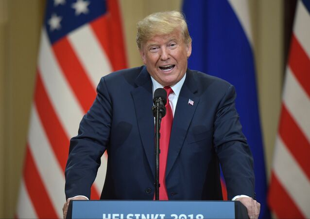 July 16, 2018. President of the US Donald Trump during the joint news conference with President of Russia Vladimir Putin following their meeting in Helsinki