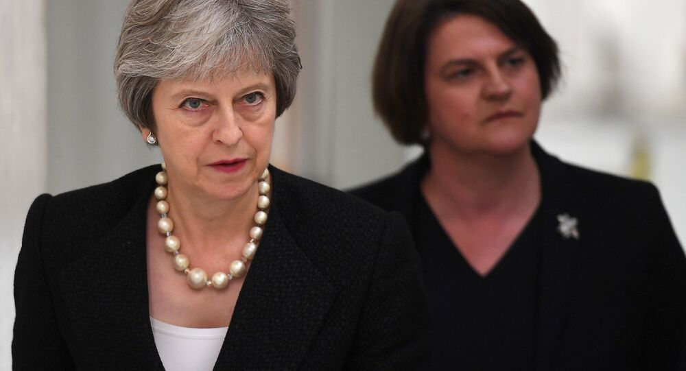 Britain's Prime Minister Theresa May and Arlene Foster, the leader of the Democratic Unionist Party (DUP) visit Belleek Pottery, in St Belleek, Fermanagh, Northern Ireland, July 19, 2018.