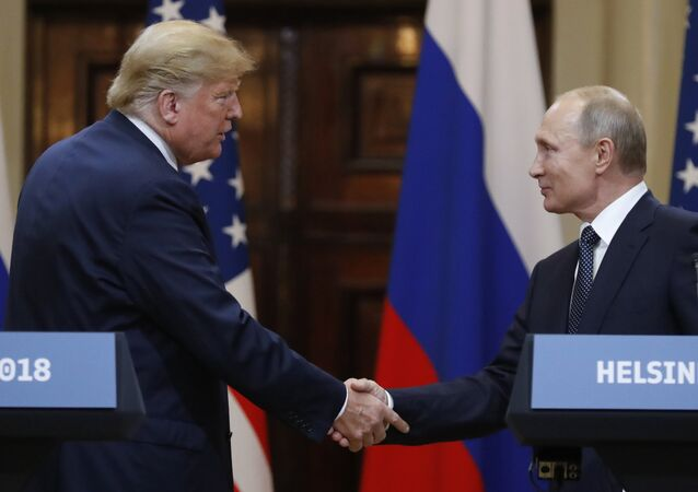 July 16, 2018. President of Russia Vladimir Putin and President of the US Donald Trump, left, during the joint news conference following their meeting in Helsinki