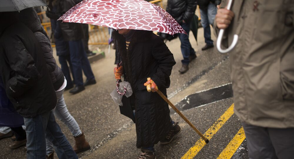 A woman with a walking cane (File)
