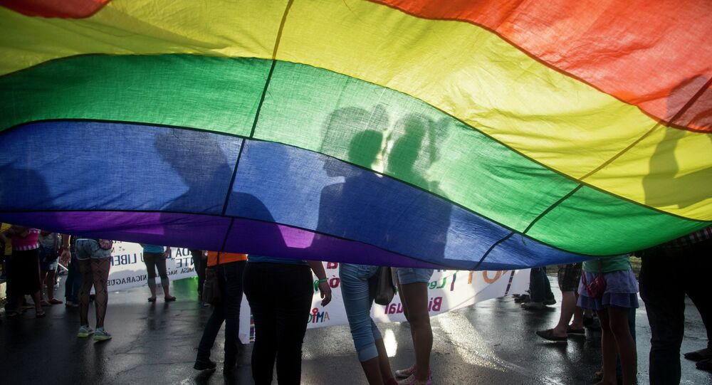 Members of the LGBT movement hold a gay pride flag