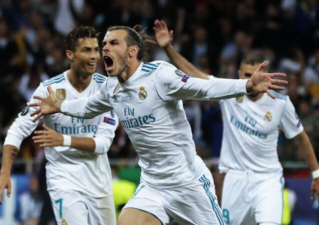 Real Madrid's player Gareth Bale, center, celebrates a goal (File)