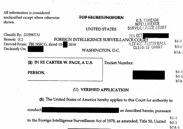 Foreign Intelligence Surveillance (FISA) Court warrant for Trump campaign adviser Carter Page.