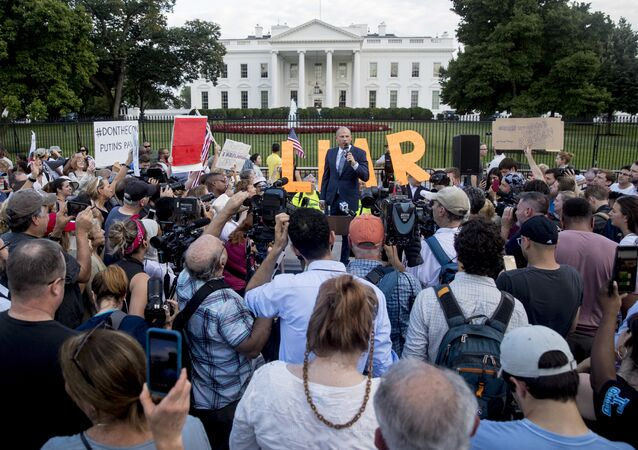 Michael Avenatti, attorney for porn actress Stormy Daniels, speaks at the protest Occupy the White House protest in Washington.