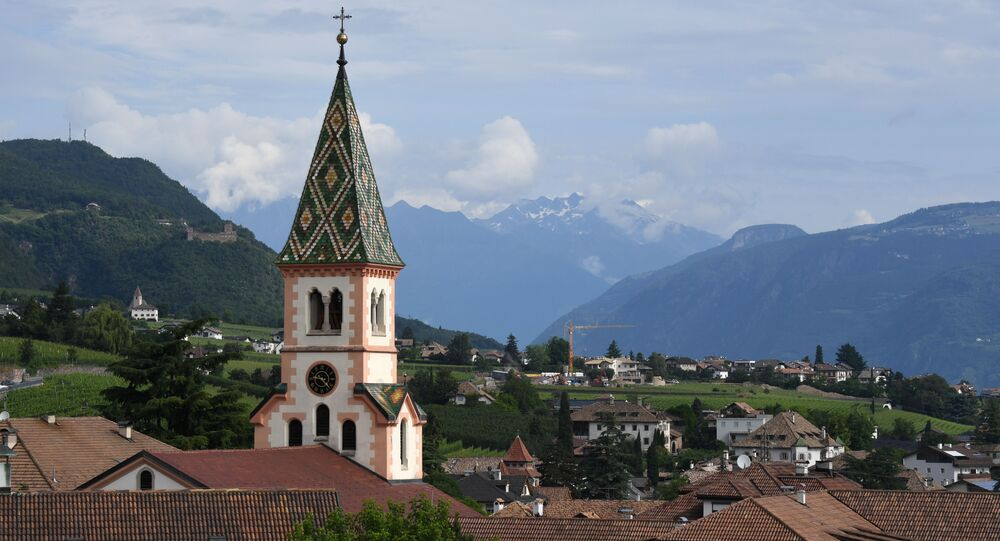 A picture taken on June 6, 2018 shows a partial view of the small village and the church of St. Joseph of St. Michael Eppan, South Tyrol, northern Italy