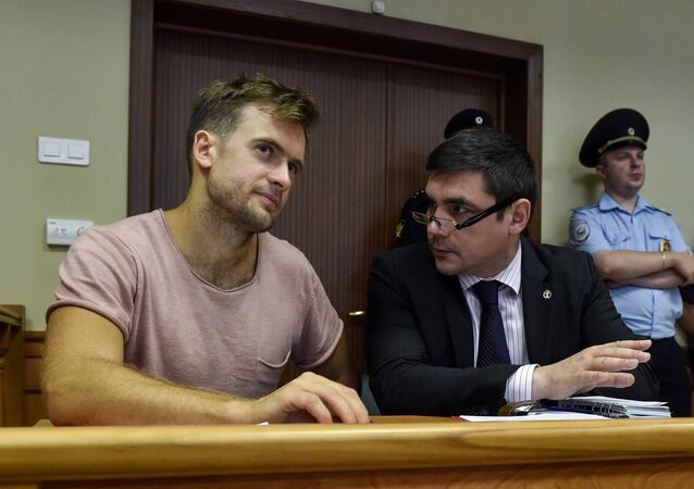Russian Pussy Riot punk group member Pyotr Verzilov, who was recently jailed for 15 days in police cells after a pitch invasion at the World Cup final, attends an appeal hearing at a court in Moscow on July 23, 2018