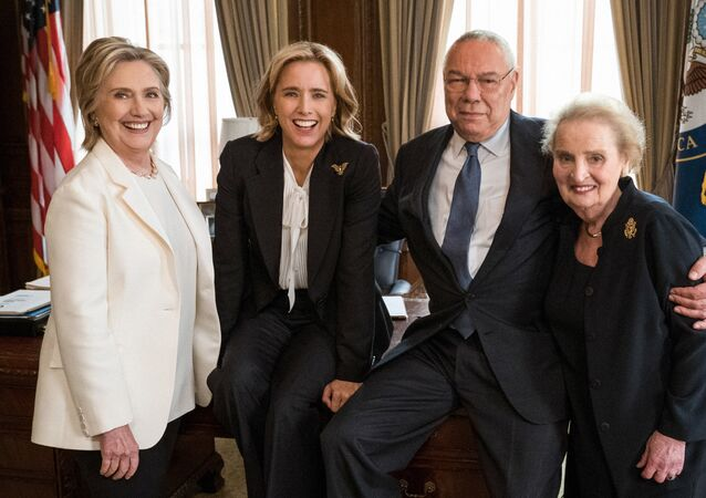 Three former U.S. secretaries of state, Hillary Clinton (L), Colin Powell (2nd R) and Madeleine Albright (R) are pictured with fictional Secretary of State Elizabeth McCord, played by Tea Leoni (2nd L) on political television drama Madam Secretary, in this picture released by CBS in New York, NY, U.S., July 24, 2018