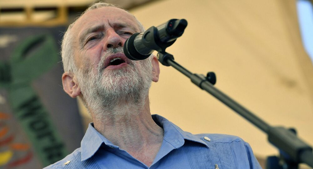 Britain's opposition Labour Party leader Jeremy Corbyn speaks at the Tolpuddle Martyrs Festival in Tolpuddle, England, Sunday July 22, 2018