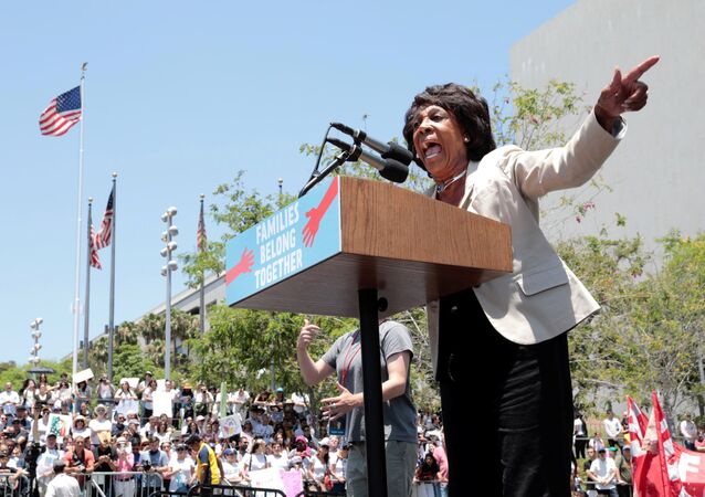 Congresswoman Maxine Waters during a national day of action called Keep Families Together to protest the Trump administration's Zero Tolerance policy in Los Angeles, California, U.S. June 30, 2018