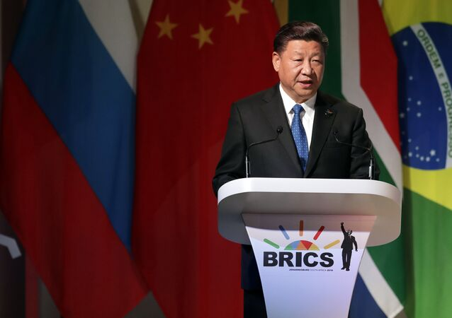 Chinese President Xi Jinping delivers his speech at the opening of the BRICS Summit in Johannesburg Wednesday, July 25 2017