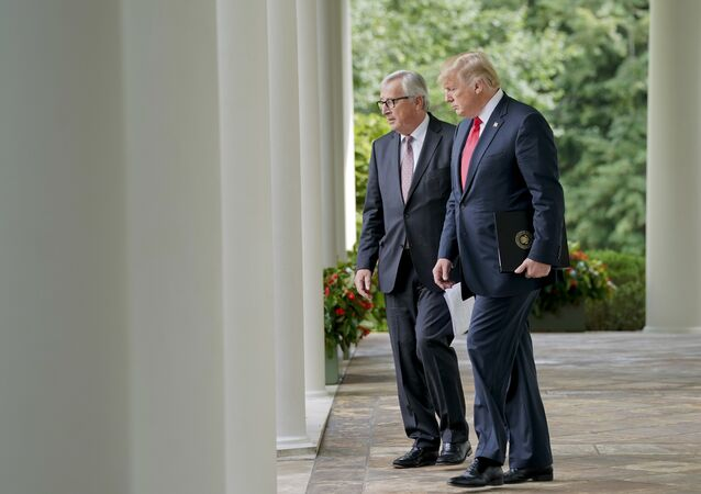 President Donald Trump, right, and European Commission president Jean-Claude Juncker, walk out to speak in the Rose Garden of the White House, Wednesday, July 25, 2018, in Washington.