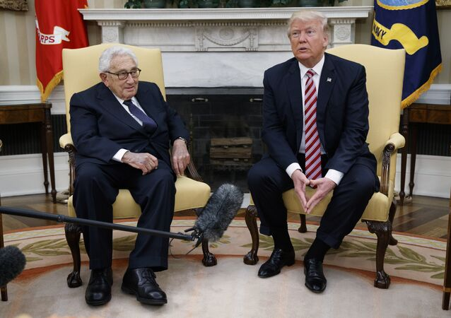 President Donald Trump meets with Dr. Henry Kissinger, former Secretary of State and National Security Advisor under President Richard Nixon, in the Oval Office of the White House, Wednesday, May 10, 2017, in Washington