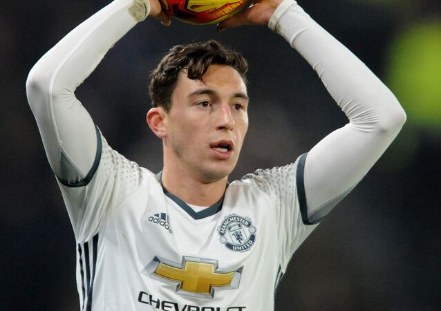 Manchester United's Matteo Darmian during the English League Cup, Semi Final Second Leg soccer match between Hull City and Manchester United at KCOM stadium in Hull, England, Thursday Jan. 26, 2017.
