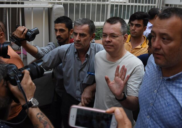 U.S. pastor Andrew Brunson reacts as he arrives at his home after being released from the prison in Izmir, Turkey July 25, 2018