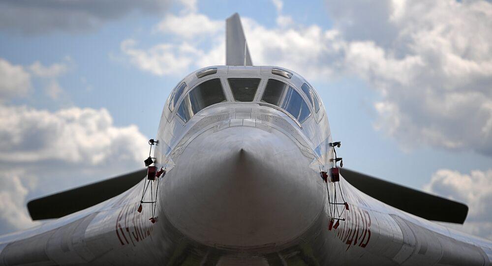 A Tupolev Tu-160 supersonic heavy strategic bomber at the International Aviation and Space Salon MAKS-2017 in Zhukovsky