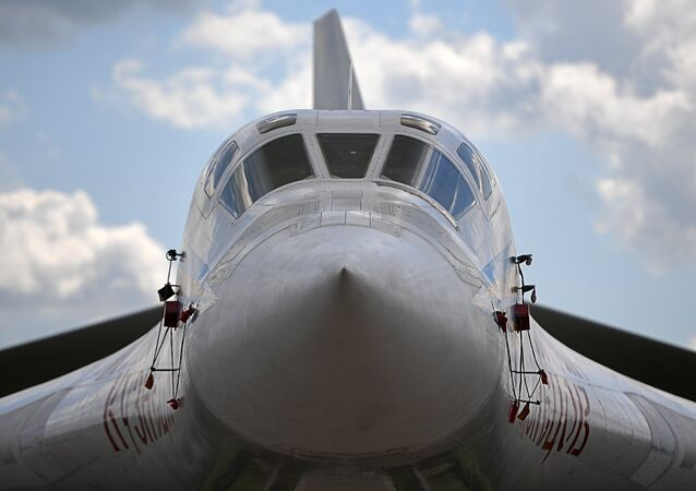 A Tupolev Tu-160 supersonic heavy strategic bomber at the International Aviation and Space Salon MAKS-2017 in Zhukovsky