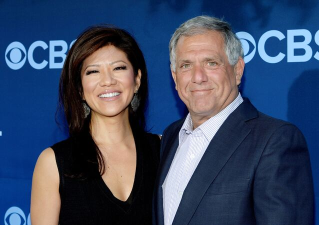 Les Moonves (R), president and CEO of CBS Corporation, and his wife Julie Chen pose during the premiere of the CBS science fiction television series Extant at the Samuel Oschin Space Shuttle Endeavour Display Pavilion in Los Angeles, California, U.S., June 16, 2014