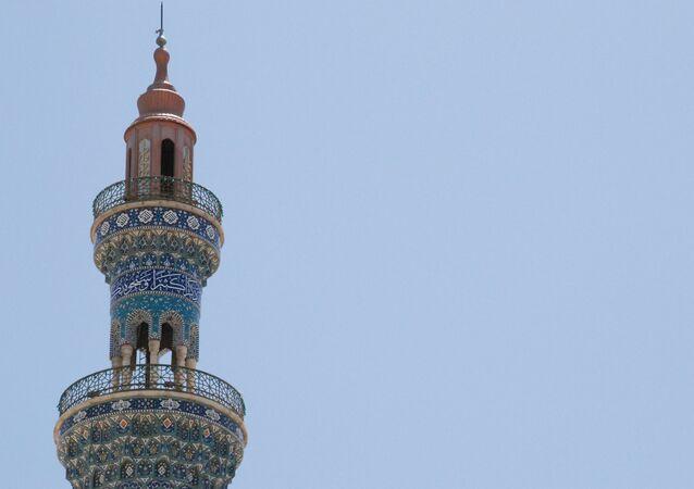A minaret of a mosque in the city of Qom, Iran