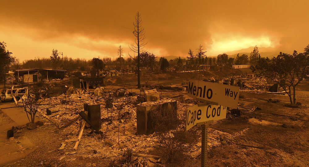 Homes leveled by the Carr Fire line the Lake Keswick Estates area of Redding, Calif., on Friday, July 27, 2018.