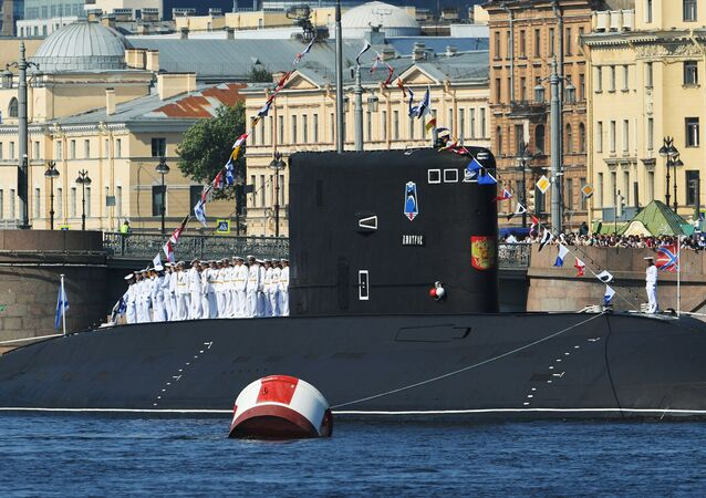 The diesel electric Dmitrov submarine before the main naval parade in St. Petersburg in honor of Day of Navy of Russia