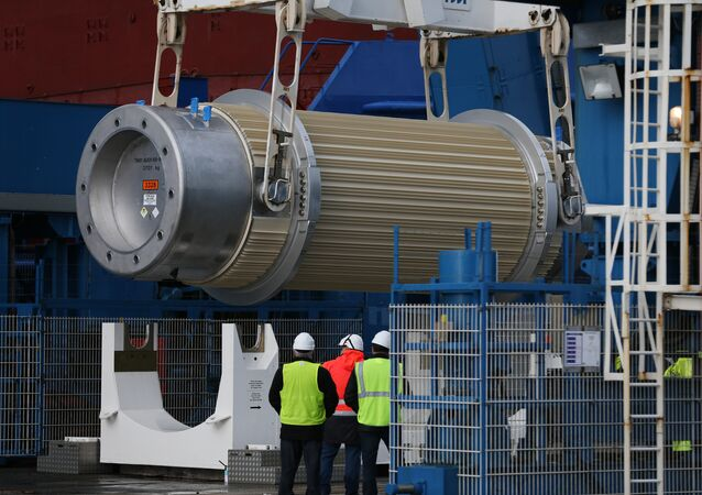 A transport storage cask for the return of high activity waste from reprocessing is being loaded onto the BBC Shanghai cargo ship on October 15, 2015 in Cherbourg-Octeville. The vessel, whose security has been questioned, is to deliver nuclear waste back to Australia after its reprocessing in France