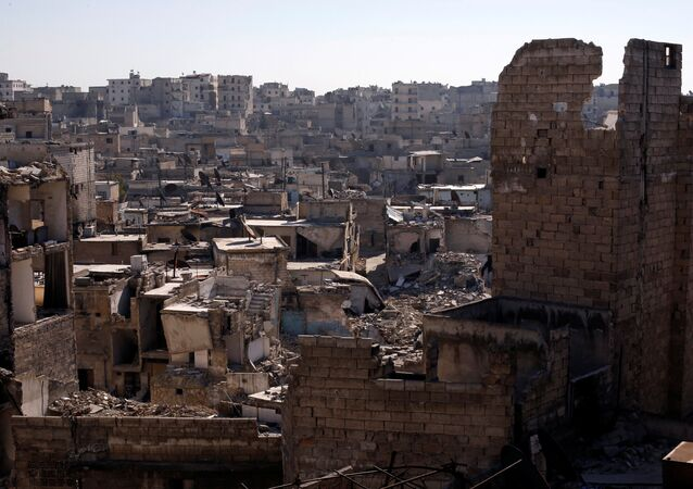 A general view shows damaged buildings at al-Kalasa district of Aleppo, Syria in Aleppo, Syria, February 2, 2017